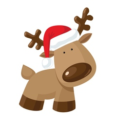 Christmas reindeer standing in Santas hat vector