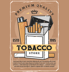cigarette tobacco premium quality lighter vector image