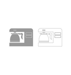 Coffeemaker coffee machine grey set icon vector