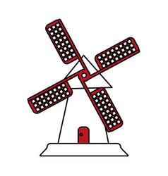Color silhouette image cartoon farm windmill vector