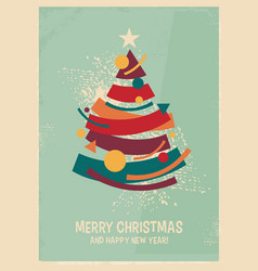 Colorful christmas tree made from geometric shapes vector