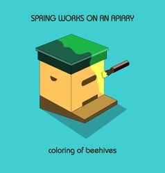 Coloring of beehives spring work vector