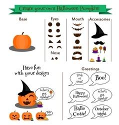 Create your own halloween pumpkin character vector image