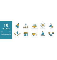 Crowdfunding icon set include creative elements vector
