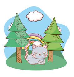 Cute animal outdoors cartoon vector
