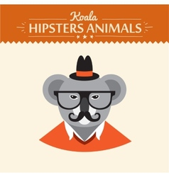 Cute hipster koala in hat reading a book vector image