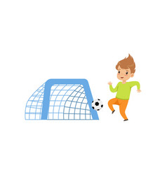 Cute littlle boy playing football kid having fun vector