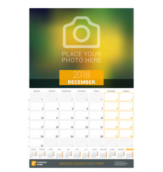 december 2018 wall monthly calendar for 2018 year vector image