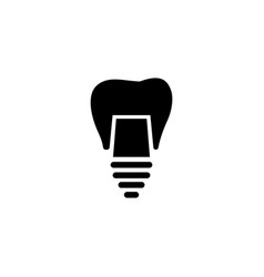 dental implant tooth restoration flat icon vector image