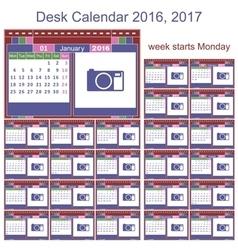 Desk calendar 2016 2017 vector