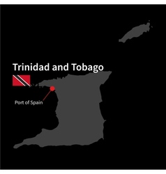 Detailed map of Trinidad and Tobago and capital vector image
