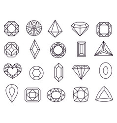 diamond icons jewels diamonds gems diamantes vector image