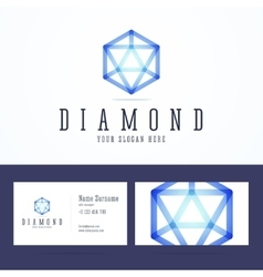 Diamond logo and business card template vector