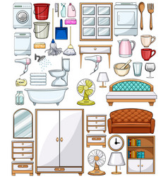 Different household equipments and furnitures vector