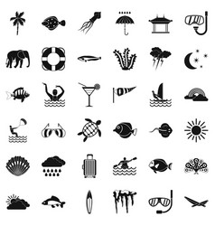 Diving in ocean icons set simple style vector