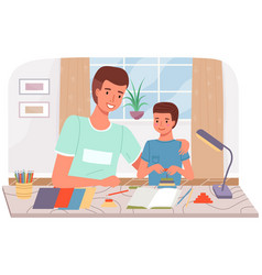 Diy activity for father and son dad and kid spend vector