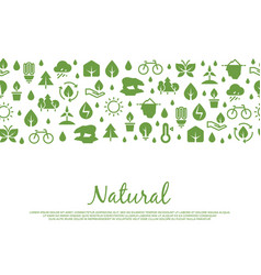 eco icons banner natural save nature elements vector image