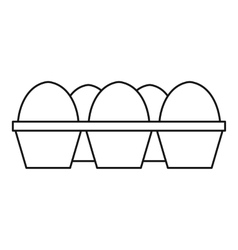 Eggs in carton package icon outline style vector