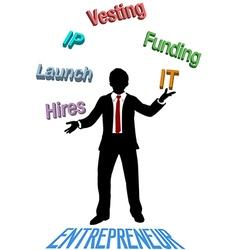 Entrepreneur juggles lean startup plan vector image vector image