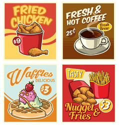 fast food design collection in retro style vector image