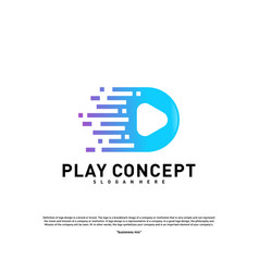 fast play logo design concept play tech logo vector image
