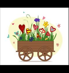 flowers from hearts in garden cart vector image