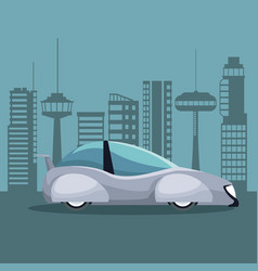 futuristic city landscape silhouette with colorful vector image