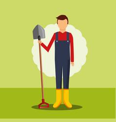 gardener holding big shovel tool gardening image vector image