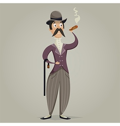 gentleman with cigar and stick vector image
