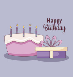 gift box with sweet cake vector image