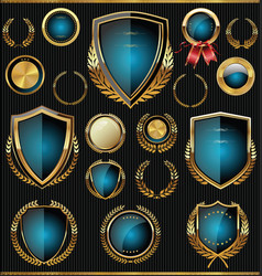 Gold and blue shields labels and laurels vector