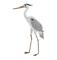 Grey heron icon cartoon style vector