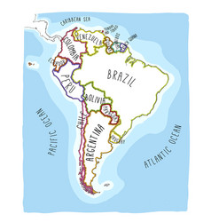 Hand drawn map of south america vector