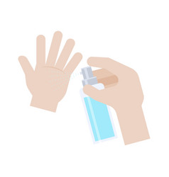 Hands with spray bottle hand washing vector