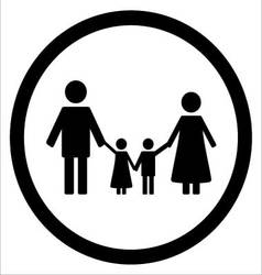 Happy family black silhouette icon vector