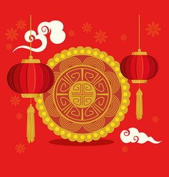 Happy new year chinese with lanterns hanging vector