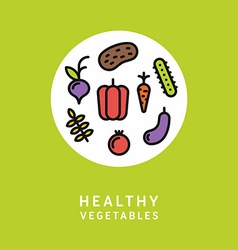 Healthy Vegetables Line Art Colorfull vector