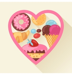 Heart background with colorful candy sweets and vector