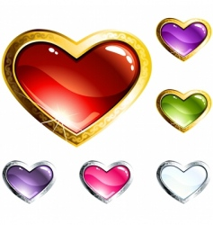 heart-shaped buttons vector image