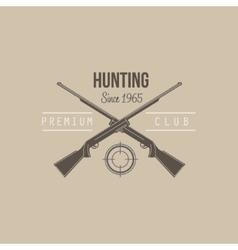 Hunting Vintage Emblem with Guns and Dog vector