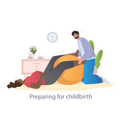 Husband helps his wife to prepare for childbirth vector