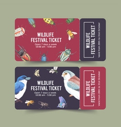 Insect and bird ticket design with butterfly vector