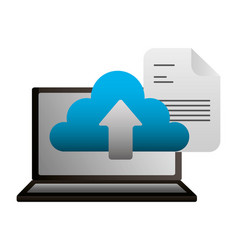 laptop cloud computing document upload vector image