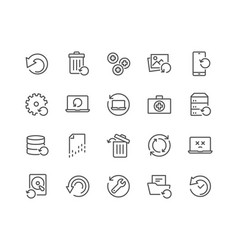 Line recovery icons vector