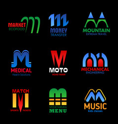 m letters icons sport medicine corporate identity vector image