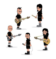 male cartoon character music band theme vector image