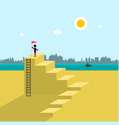man on beach with flag on top stairs vector image