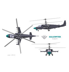 military helicopter 3d blueprint top side front vector image