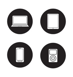 Modern gadgets black icons set vector image