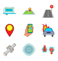 Navigator icons set cartoon style vector